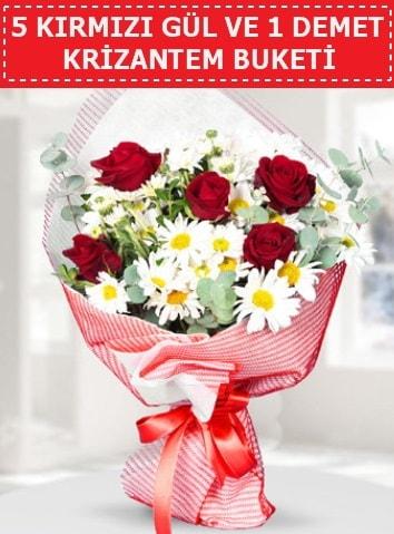 5 adet kırmızı gül ve krizantem buketi  Erzurum uluslararası çiçek gönderme