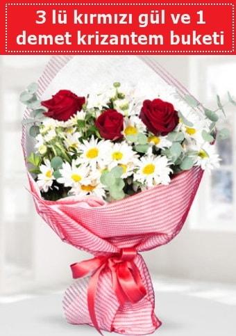 3 adet kırmızı gül ve krizantem buketi  Erzurum çiçek siparişi vermek