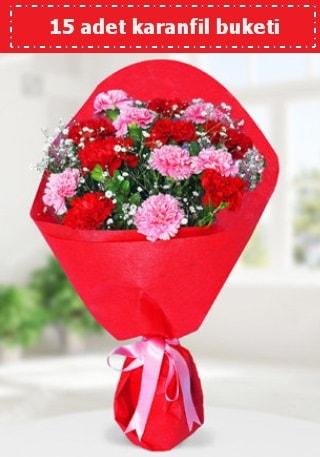 15 adet karanfilden hazırlanmış buket  Erzurum İnternetten çiçek siparişi