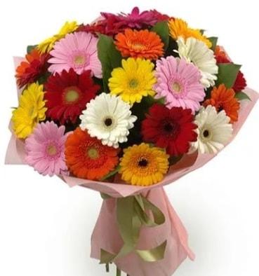 Karışık büyük boy gerbera çiçek buketi  Erzurum uluslararası çiçek gönderme