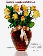 Erzurum çiçek mağazası , çiçekçi adresleri  mika yada Cam vazoda 12 adet sari gül